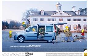 Картинка авто, реклама, симпсоны, гомер, renault, барт, мэгги, мардж, лиза