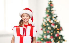 Картинка дети, елка, ребенок, девочка, подарки, Новый год, happy, улыбки, smile, New Year, Merry Christmas, child, …