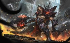 Картинка Blizzard, Art, Diablo 3, Warrior, Blizzard Entertainment, Fan Art, Demon, Barbarian, Armor, Video Game, Reaper …