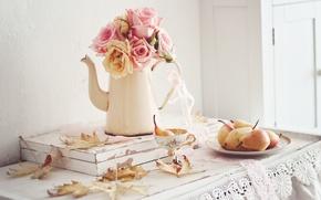 Картинка осень, листья, цветы, розы, натюрморт
