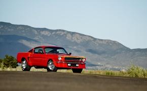 Картинка дорога, небо, холмы, фары, Mustang, Ford, колеса, спереди, 1965, солнечный