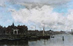 Картинка картина, тучи, дома, город, порт, море, лодки, Jacob Hendricus Maris, небо, набережная, река, пейзаж, парус