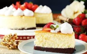 Обои клубника, торт, крем