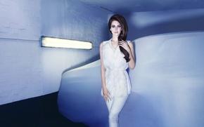Lana Del Rey, Лана Дель Рей, девушка, брюнетка, певица, одежда, белая,  машина, лампа обои