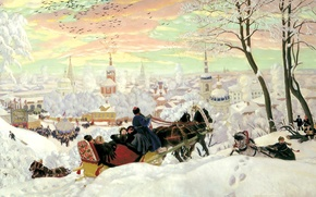 Картинка зима, снег, люди, праздник, картина, лошади, сани, живопись, тройка, холст, Кустодиев, храмы, церкви, масленицы