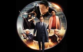 Картинка оружие, костюм, агент, черный фон, постер, Colin Firth, Michael Caine, Майкл Кейн, Samuel L. Jackson, ...