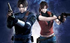 Картинка girl, gun, pistol, game, weapon, woman, Resident Evil, man, hero, Leon, knife, cop, Biohazard, Leon …