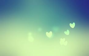 Картинка зеленый, фон, сердечки, hearts