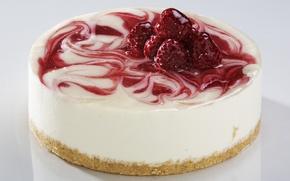 Картинка малина, еда, сливки, пирожное, вкуснятина, крем, ням-ням, джем, суфле, чизкейк