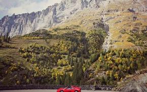 Картинка дорога, небо, облака, горы, скалы, Ferrari