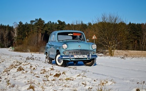 Обои машина, зима, Москвич 407