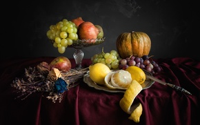 Обои лимон, яблоко, виноград, тыква, натюрморт, сухоцвет
