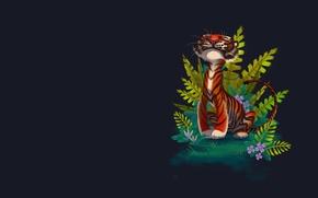 Картинка тигр, фон, настроение, джунгли, арт, детская