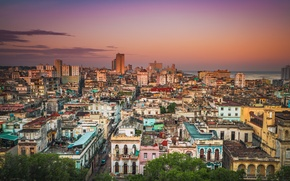Картинка море, небо, облака, здания, дома, крыши, восход солнца, улицы, Куба, Гавана