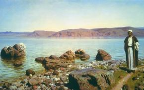 Картинка пейзаж, горы, картина, путник, Василий Поленов, На Тивериадском озере