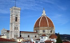 Обои Италия, Флоренция, Дуомо, крыша, небо, колокольня Джотто, собор Санта-Мария-дель-Фьоре, купол