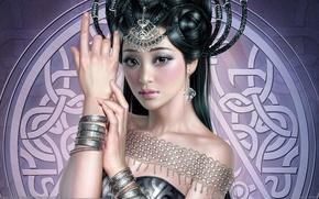 Картинка девушка, украшения, узор, рука, арт, прическа, tang yuehui, азиатка, браслеты, косы