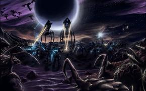Обои война, лазеры, starcraft 2, Зерги, Протосы, храмовники