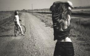 Картинка дорога, лето, велосипед, девушки, шорты