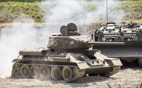Картинка дым, танк, советский, средний, Т-34-85
