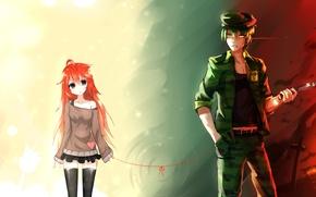 Картинка девушка, аниме, арт, парень, нить, sen ya, flaky, bai yemeng, flippy, happy tree friends