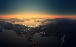 Обои Landscapes, небо, вода, камни, закат