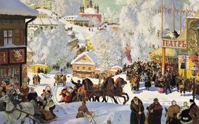 Обои народ, картина, тройка, праздник, настроение, Кустодиев, масленица