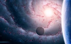 Картинка планета, спутник, spaceship, galaxy