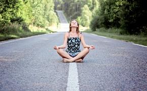 Картинка дорога, девушка, деревья, медитация
