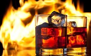 Картинка лед, огонь, пламя, бокалы, напиток, виски