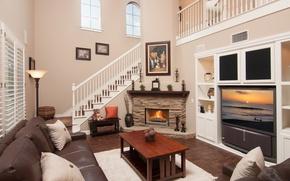 Картинка дизайн, стиль, стол, диван, огонь, подушки, телевизор, лестница, камин, гостиная