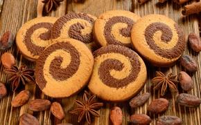 Обои анис, бадьян, зерна, печенье, корица, спираль, какао бобы