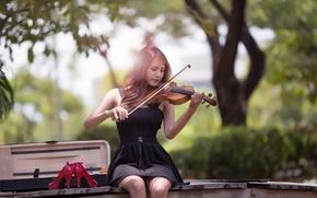 Картинка девушка, скрипка, платье, азиатка