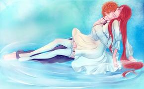 Картинка kurosaki ichigo, inoue orihime, арт, парень, bleach, аниме, пара, iwonn, вода, девушка, чулки