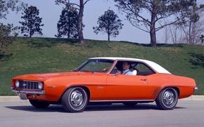 Картинка ретро, Chevrolet, 1969, Шевроле, Camaro, 327