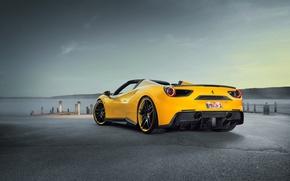 Обои феррари, Rosso, supercar, Novitec, Ferrari, задок, 488, Spider, car, тюнинг, авто, новитек, sky