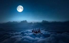 Картинка небо, звезды, облака, ночь, луна, парусник