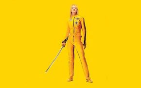 Обои желтый, меч, Kill Bill, Uma Thurman, Убить Билла, Ума Турман