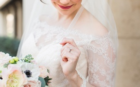 Картинка девушка, букет, кольцо, невеста