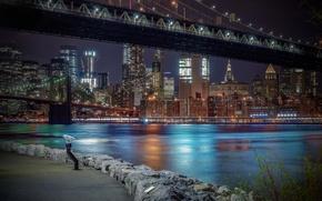 Обои пролив, здания, Нью-Йорк, Бруклинский мост, мосты, ночной город, Манхэттен, набережная, небоскрёбы, Manhattan, New York City, ...