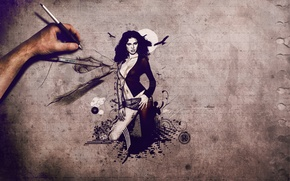Картинка девушка, рисунок, рука, adriana lima