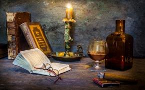 Картинка бокал, книги, свеча, сигара, A cosy corner