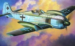 Картинка fighter, war, art, airplane, painting, ww2, Fw190A-7 w/Slipper Tank
