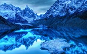 Картинка холод, горы, синий, озеро
