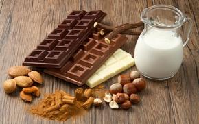 Обои шоколад, молоко, орехи, миндаль, сладкое, фундук