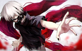 Картинка аниме, маска, арт, парень, tokyo ghoul, kaneki ken, yellow skies, fami