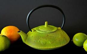 Картинка лимон, лайм, Чайник