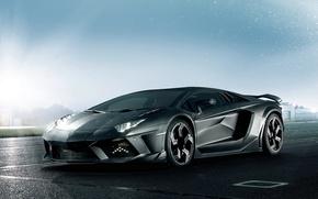 Картинка Lamborghini, Машина, Дождь, Асфальт, Car, Black, Ламборгини, Tuning, LP700-4, Aventador, Авентадор, Carbonado, Masory