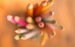 Картинка colorful, bokeh, pencils, tip