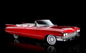 Обои 1960, кабриолет, черный фон, Convertible, кадиллак, Sixty-Two, Cadillac